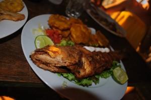 Fisk, patacones og salat